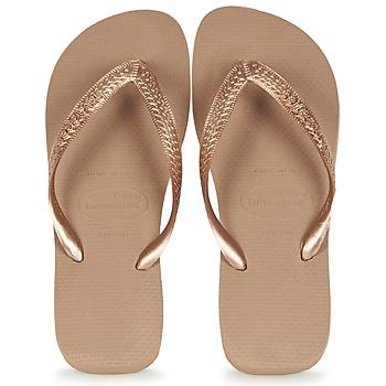 Sapatos Mulher Chinelos Havaianas TOP METALLIC Rosa / Ouro