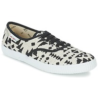Sapatos Mulher Sapatilhas Victoria INGLES GEOMETRICO LUREX Bege / Preto