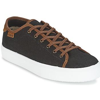 Sapatos Homem Sapatilhas Victoria BASKET LINO DETALLE MARRON Preto / Castanho