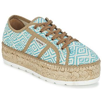 Sapatos Mulher Sapatilhas Victoria BASKET ETNICO PLATAFORMA Azul / Bege