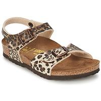 Sapatos Rapariga Sandálias Birkenstock RIO Leopardo / Castanho