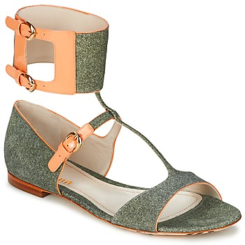 Sapatos Mulher Sandálias John Galliano A65970 Verde / Bege