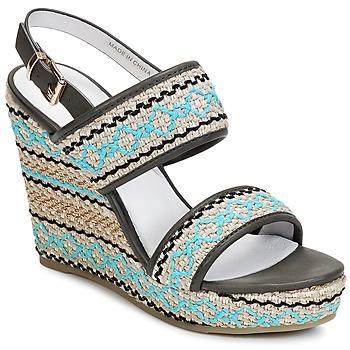 Sapatos Mulher Sandálias Café Noir JABALA Carvão / Turquesa