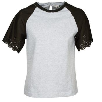 Textil Mulher T-Shirt mangas curtas Manoush FANCY Cinza / Preto