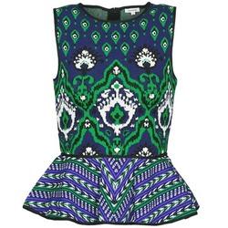 Textil Mulher Tops sem mangas Manoush JACQUARD OOTOMAN Azul / Preto / Verde