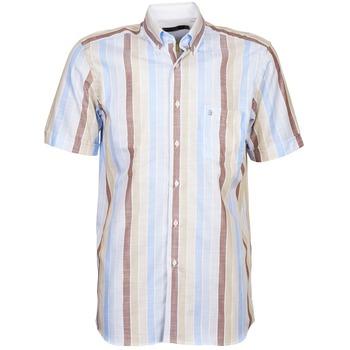 Textil Homem Camisas mangas curtas Pierre Cardin 539936240-130 Azul / Bege / Castanho