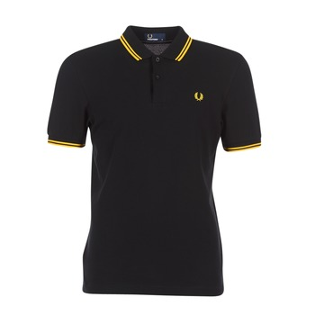 Textil Homem Polos mangas curta Fred Perry SLIM FIT TWIN TIPPED Preto / Amarelo