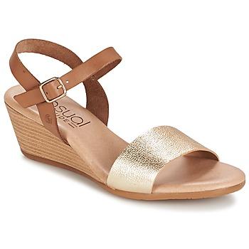 Sapatos Mulher Sandálias Casual Attitude GOLETTE Camel / Dourado
