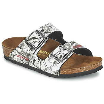 Sapatos Rapaz Chinelos Birkenstock ARIZONA Preto / Branco
