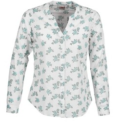 Textil Mulher camisas Mustang FLOWER BLOUSE Branco / Azul