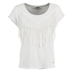 Textil Mulher T-Shirt mangas curtas Mustang FRINGE Branco