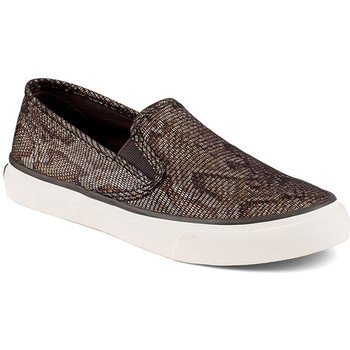 Sapatos Mulher Slip on Sperry Top-Sider Seacoast Python Black/Gold Ouro