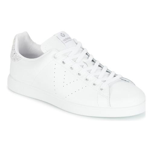 Sapatos Mulher Sapatilhas Victoria DEPORTIVO BASKET PIEL Branco / Prateado