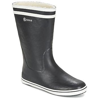 Sapatos Mulher Botas de borracha Aigle MALOUINE FUR Preto