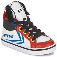 Sapatos Criança Sapatilhas de cano-alto Feiyue DELTA MID PEANUTS Branco / Preto / Vermelho