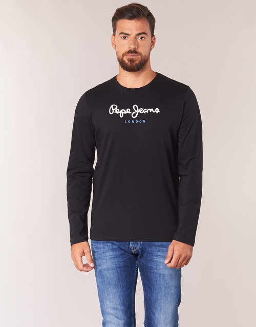 Textil Homem T-shirt mangas compridas Pepe jeans EGGO LONG Preto