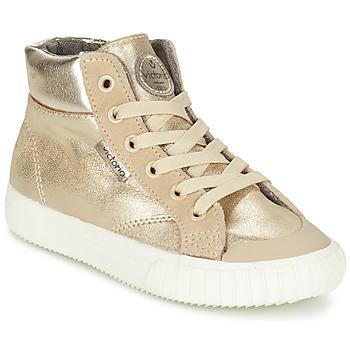 Sapatos Rapariga Sapatilhas de cano-alto Victoria BOTA METALIZADA PU Ouro