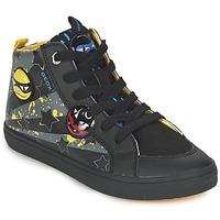 Sapatos Rapaz Sapatilhas de cano-alto Geox KIWI BOY Preto / Amarelo