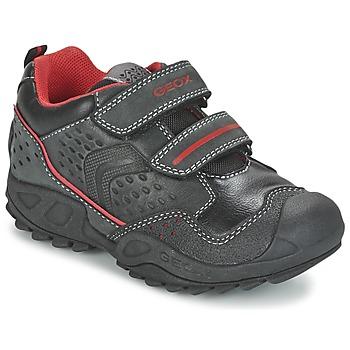 Sapatos Rapaz Sapatilhas Geox NEW SAVAGE BOY Preto / Vermelho