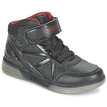 Sapatos Rapaz Sapatilhas de cano-alto Geox ARGONAT BOY Preto / Vermelho
