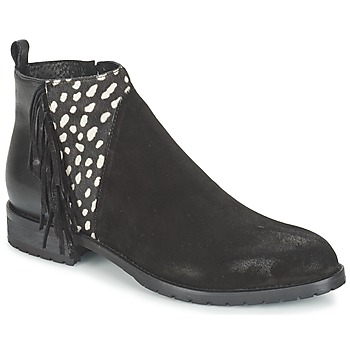 Sapatos Mulher Botas baixas Meline VELOURS NERO PLUME NERO Preto / Branco