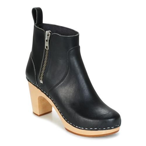 Sapatos Mulher Botins Swedish hasbeens ZIP IT SUPER HIGH Preto