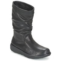 Sapatos Mulher Botas baixas FitFlop LOAF SLOUCHY KNEE BOOT LEATHER Preto