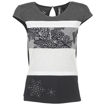 Textil Mulher T-Shirt mangas curtas Desigual KITEPI Branco / Cinza / Preto