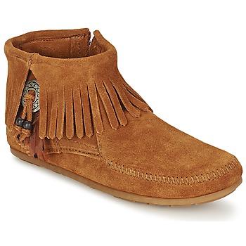 Sapatos Mulher Botas baixas Minnetonka CONCHO FEATHER SIDE ZIP BOOT Castanho