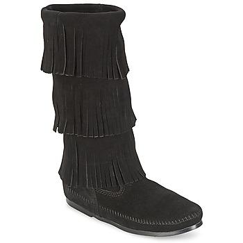 Sapatos Mulher Botas Minnetonka CALF HI 3 LAYER FRINGE BOOT Preto