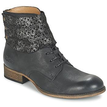 Sapatos Mulher Botas baixas Kickers PUNKYZIP Preto / Brilhante