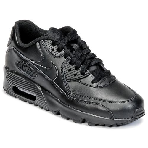 4a80fe6a4a0 Nike AIR MAX 90 LEATHER GRADE SCHOOL Preto - Entrega gratuita com a ...