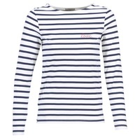 Textil Mulher T-shirt mangas compridas Betty London FLIGEME Branco / Azul