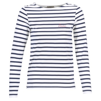 Textil Mulher T-shirt mangas compridas Betty London IFLIGEME Branco / Azul