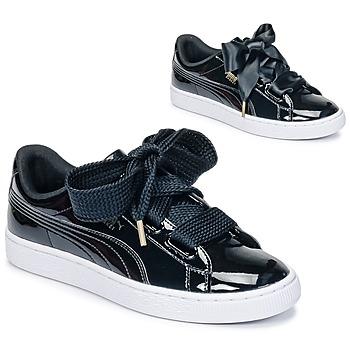 Sapatos Mulher Sapatilhas Puma BASKET HEART PATENT WN'S Preto / Verniz
