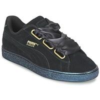 Sapatos Mulher Sapatilhas Puma BASKET HEART SATIN WN'S Preto