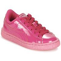 Sapatos Rapariga Sapatilhas Puma BASKET PATENT ICED GLITTER PS Rosa