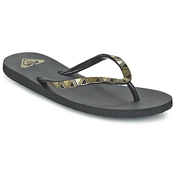 Sapatos Mulher Chinelos Roxy BERMUDA MOLDED J SNDL BLK Preto / Ouro