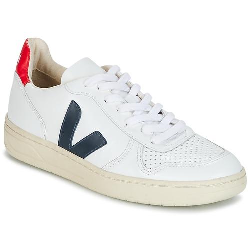Sapatos Sapatilhas Veja V-10 Branco / Azul / Vermelho