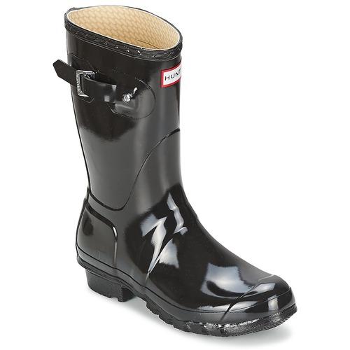 Sapatos Mulher Botas de borracha Hunter WOMEN'S ORIGINAL SHORT GLOSS Preto