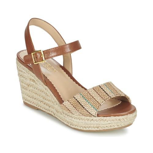Sapatos Mulher Sandálias Ralph Lauren KEARA ESPADRILLES CASUAL Castanho / Bege