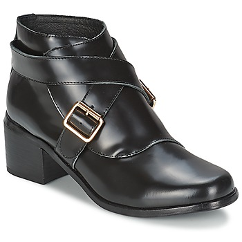 Sapatos Mulher Botins F-Troupe Double Buckle Boot Preto