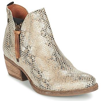 Sapatos Mulher Botas baixas Coqueterra LIZZY Bege / Serpente