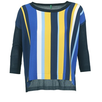 Textil Mulher camisolas Benetton OVEZAK Azul / Amarelo / Branco