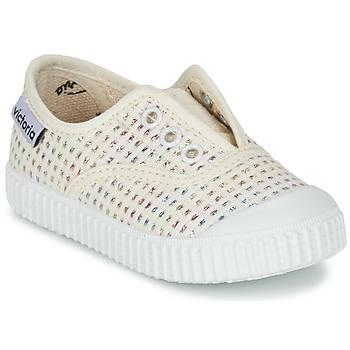 Sapatos Rapariga Sapatilhas Victoria INGLESA LUREX ELASTICO Bege