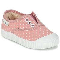 Sapatos Rapariga Sapatilhas Victoria INGLESA LUNARES ELASTICO Rosa / Branco