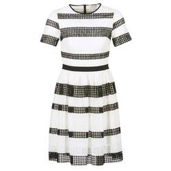 Textil Mulher Vestidos curtos MICHAEL Michael Kors GRAPHIC CR STRIPE DRS Preto / Branco
