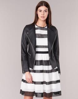 Textil Mulher Casacos de couro/imitação couro MICHAEL Michael Kors CHAIN FRONT BIKER Preto