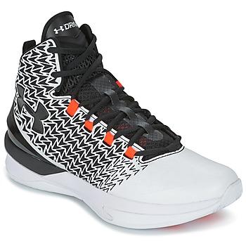 Sapatos Homem Sapatilhas de basquetebol Under Armour UA ClutchFit Drive 3 Branco / Preto / Laranja