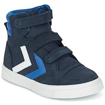 Sapatos Criança Sapatilhas de cano-alto Hummel STADIL CANVAS HIGH JR Azul / Branco